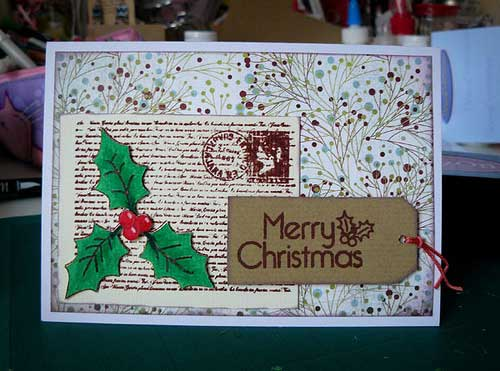 How to make a stamped Christmas Card